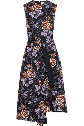 VICTORIA BECKHAM Asymmetric buckled floral-print cotton-poplin midi dress