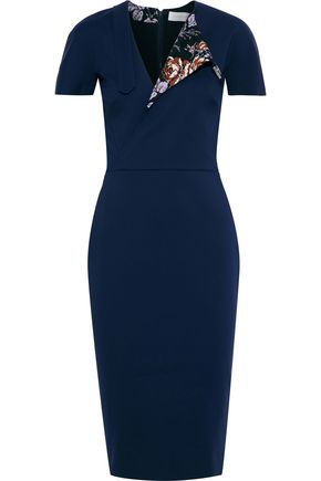 VICTORIA BECKHAM Floral print-paneled cotton-blend cady dress