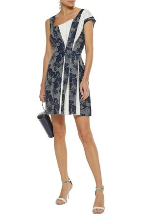 STELLA McCARTNEY Raina cady-paneled pleated jacquard mini dress