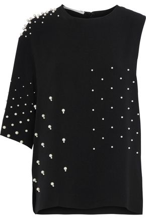 STELLA McCARTNEY Olivia faux pearl-embellished stretch-crepe top