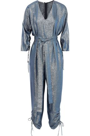 STELLA McCARTNEY Padma tie-front pleated lamé jumpsuit