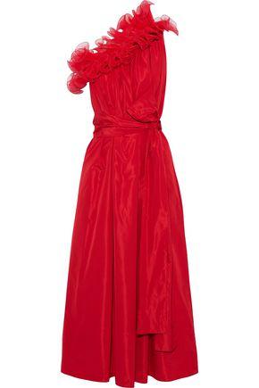 STELLA McCARTNEY One-shoulder ruffled plissé organza-trimmed taffeta gown
