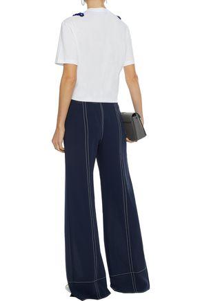 STELLA McCARTNEY Embellished chiffon-appliquéd cotton-jersey T-shirt