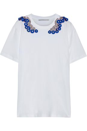 STELLA McCARTNEY Embellished chiffon-appliquéd cotton-jersey T-shirt