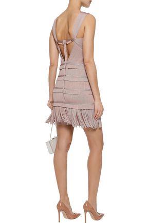 HERVÉ LÉGER Iza cutout embellished fringed bandage mini dress