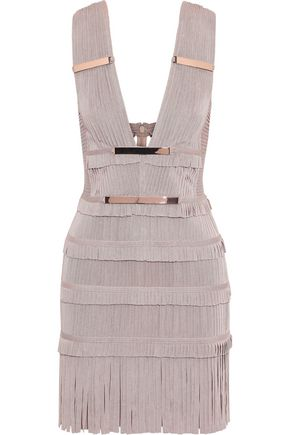 HERVÉ LÉGER Iza cutout embellished fringed bandage mini dress