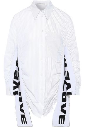 STELLA McCARTNEY Jacquard-knit and pinstriped cotton and silk-blend poplin shirt
