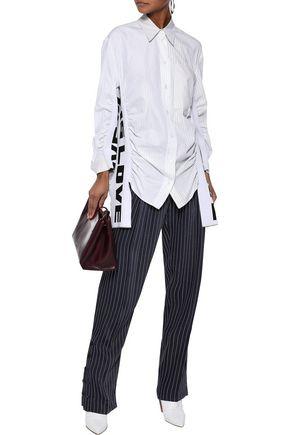STELLA McCARTNEY Jacquard-knit and pinstriped cotton and silk-blend poplin shirt