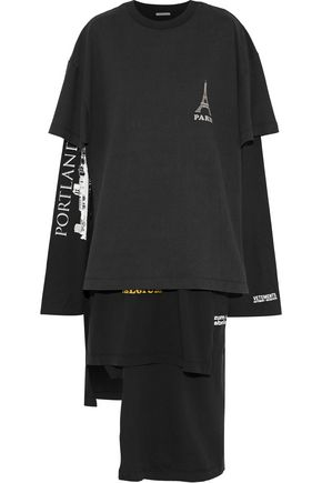VETEMENTS Asymmetric layered printed cotton-jersey midi dress