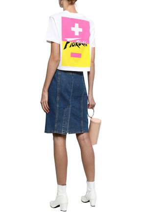 FIORUCCI Cropped printed cotton-jersey T-shirt