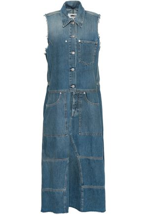 MM6 MAISON MARGIELA Frayed denim midi dress