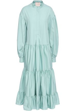 ROKSANDA Tiered cotton-poplin midi dress
