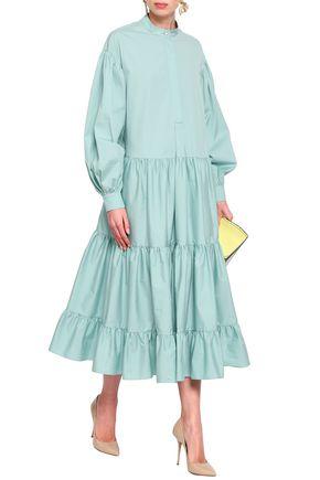 ROKSANDA Tiered cotton-poplin midi dress
