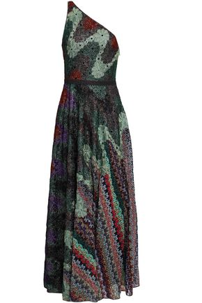 MISSONI One-shoulder metallic crochet-knit maxi dress