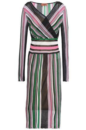 MISSONI Wrap-effect knitted midi dress