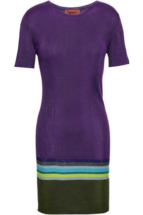 MISSONI Color-block ribbed silk-blend mini dress