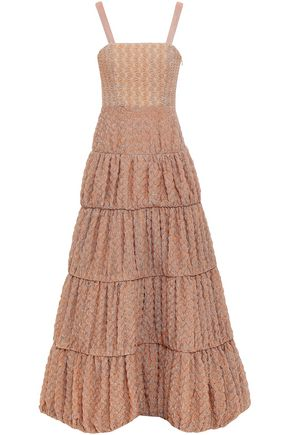 MISSONI Tiered metallic crochet-knit maxi dress