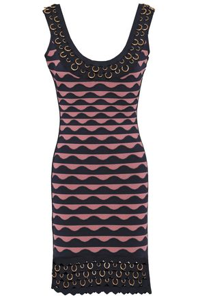 HERVÉ LÉGER Embellished jacquard-knit mini dress