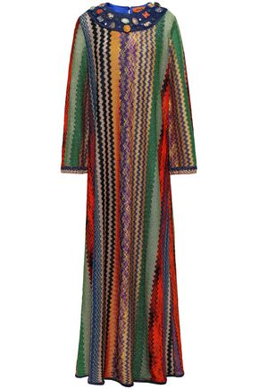 MISSONI Embellished metallic crochet-knit maxi dress
