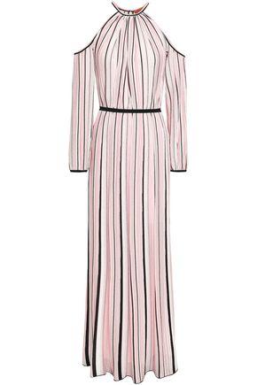 MISSONI Cold-shoulder striped ribbed-knit maxi dress