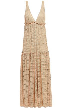 MISSONI Gathered crochet-knit midi dress