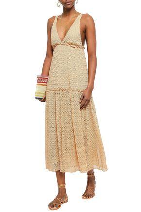 MISSONI Gathered crochet-knit midi dress