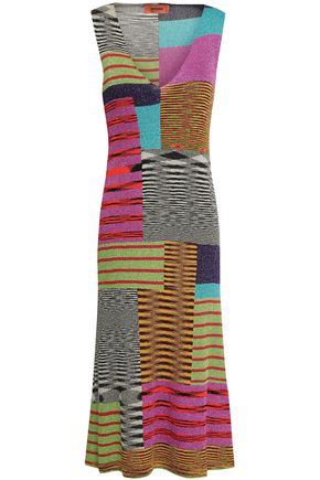 MISSONI Patchwork-effect metallic crochet-knit dress