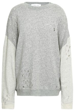 IRO Distressed two-tone French cotton-terry sweatshirt