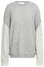 IRO Distressed two-tone French cotton-terry sweatshirt