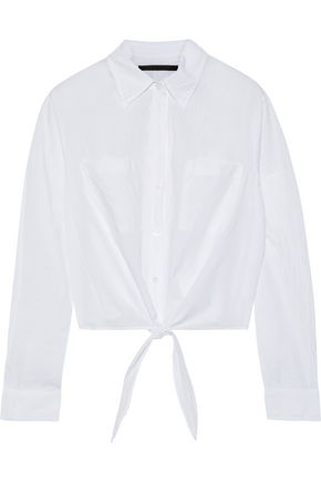 ENZA COSTA Tie-front cropped crinkled cotton-poplin shirt
