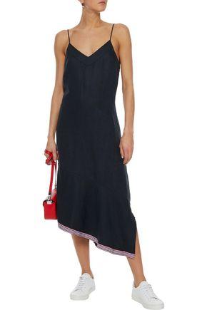 EQUIPMENT Jada asymmetric grosgrain-trimmed silk and linen-blend midi dress
