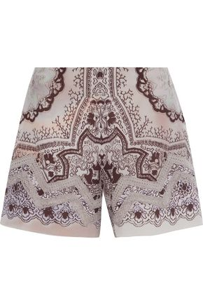 ETRO Crochet-trimmed printed washed-silk shorts