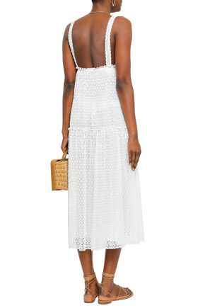 MISSONI Ruffle-trimmed crochet-knit midi dress