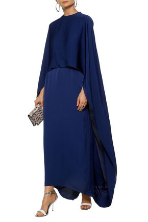 STELLA McCARTNEY Cape-effect belted washed-crepe gown