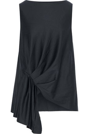 IRIS & INK Lydia draped pleated cotton top