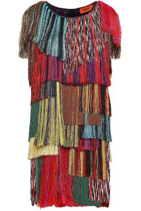 MISSONI Fringed crochet-knit mini dress