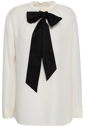 VALENTINO | Valentino Pussy-Bow Silk-Crepe Blouse | Goxip