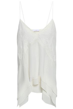 IRO Hambro lace-appliquéd layered silk crepe de chine camisole