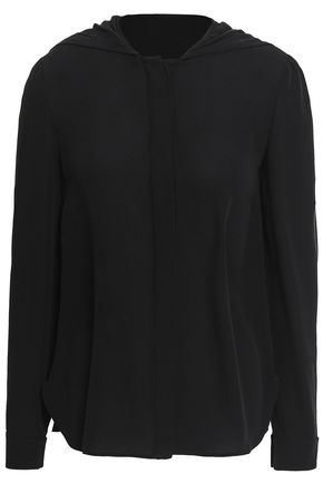 VALENTINO Silk-crepe hooded blouse