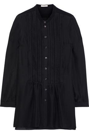 ETRO Crochet-trimmed pintucked silk crepe de chine tunic