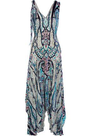 ETRO Bead-embellished printed devoré-chiffon maxi dress