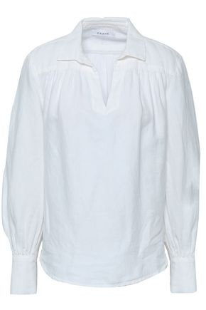 FRAME Gathered cotton and linen-blend shirt