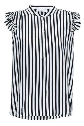 FRAME Ruffled striped silk-satin blouse