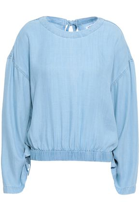 FRAME Gathered chambray top