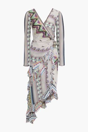 ETRO Asymmetric bead-embellished printed silk midi dress
