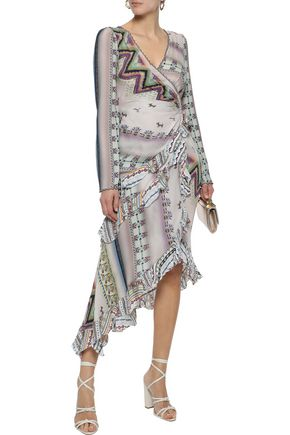 ETRO Asymmetric bead-embellished printed silk midi dress