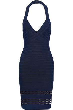 HERVÉ LÉGER Yassalyn bandage halterneck mini dress