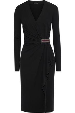 ETRO Wrap-effect embellished crepe dress