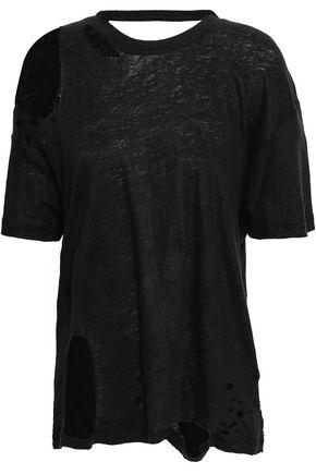 IRO Makla cutout distressed slub linen-jersey T-shirt