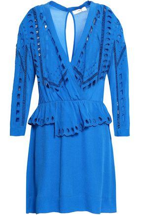 IRO Wrap-effect broderie anglaise crepe peplum mini dress